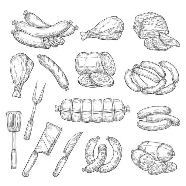 bildbanksillustrationer, clip art samt tecknat material och ikoner med fläsk och nötkött kött mat, bestick gaffel och kniv - korv