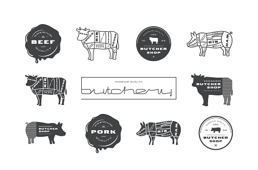 Pork, beef cuts diagrams, labels  and stamps for butcher shop