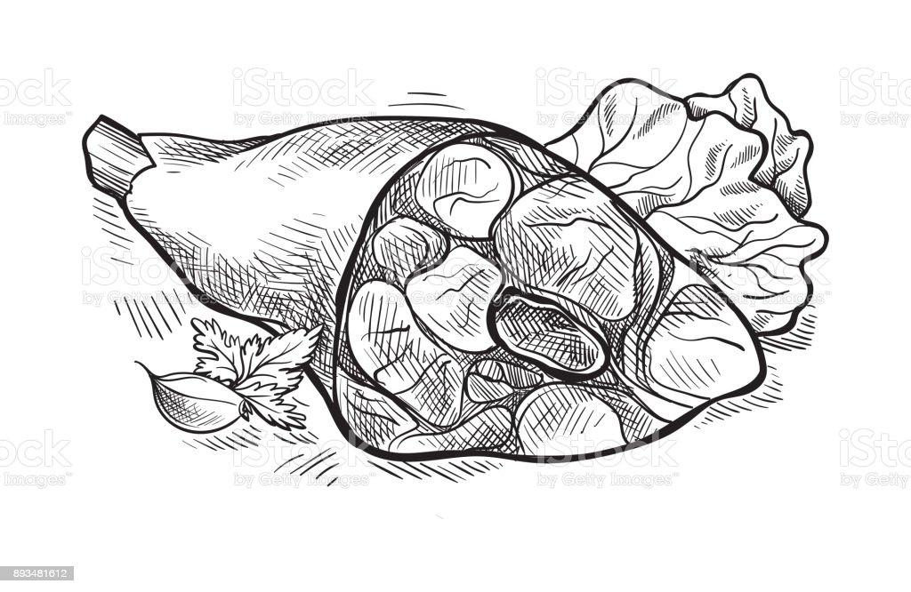 Pork knuckle isolated on white background vector art illustration