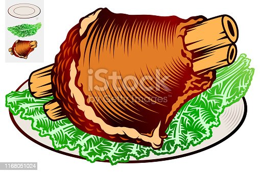Pork knuckle and leaf lettuce on a plate. Traditional bavarian snack at beer festival Oktoberfest. Food of german cuisine. Vector hand drawn illustration in retro inked engraved style for bar or pub.