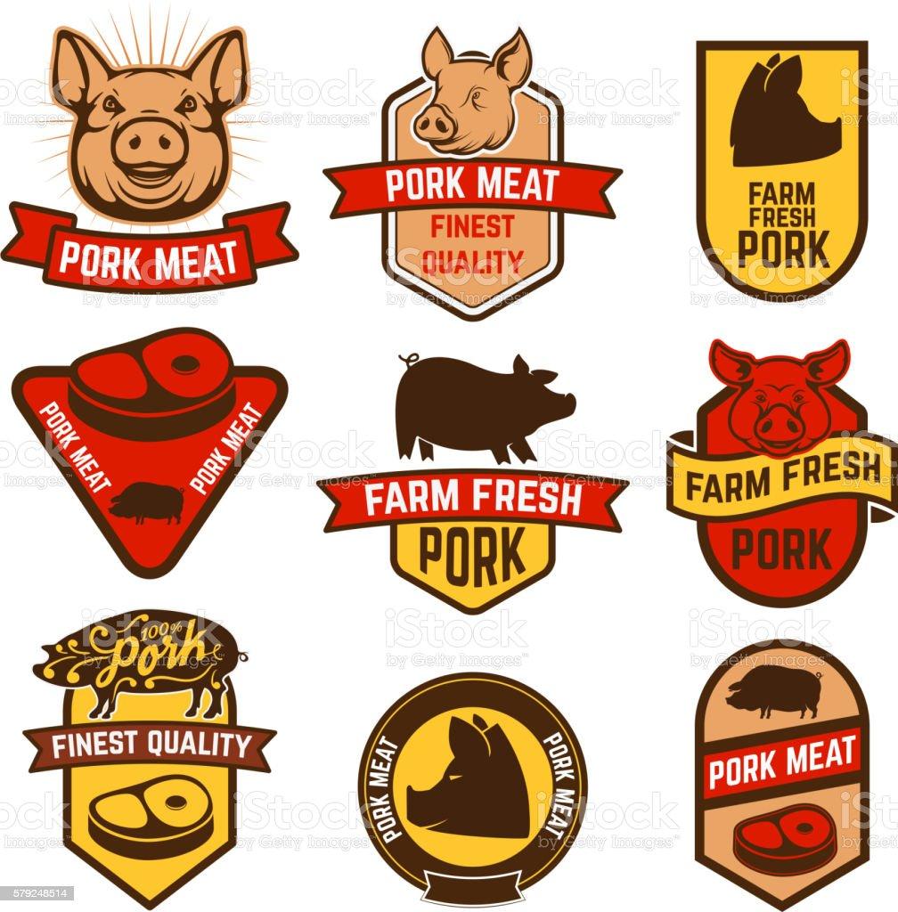 Pork meat, butcher shop labels. vector art illustration