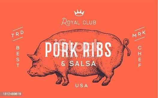 istock Pork, pig. Template Label. Vintage retro print 1312469819