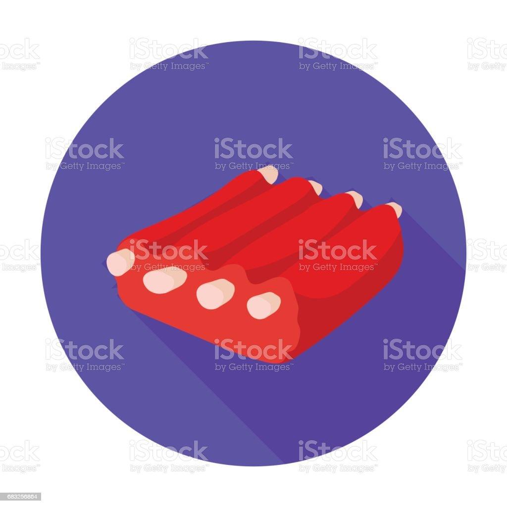 豬肉排骨中孤立的白色背景上的平面樣式的圖示。肉類象徵股票向量圖 免版稅 豬肉排骨中孤立的白色背景上的平面樣式的圖示肉類象徵股票向量圖 向量插圖及更多 健康食物 圖片