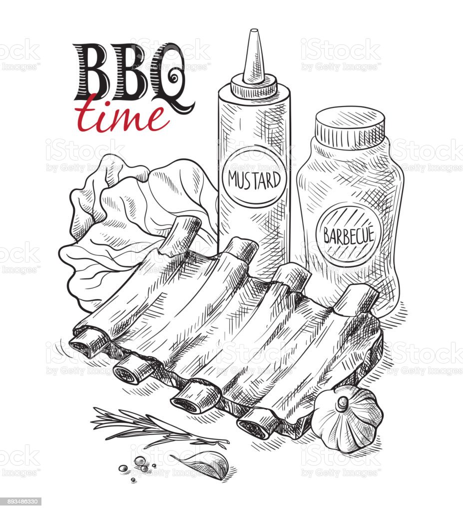 Pork ribs with sauce isolated on white background vector art illustration