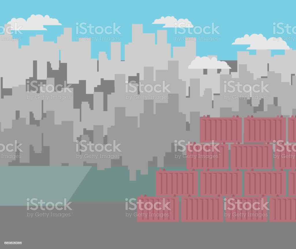 Port background. City landscape. Buildings and skyscrapers. shipping containers royalty-free port background city landscape buildings and skyscrapers shipping containers 0명에 대한 스톡 벡터 아트 및 기타 이미지