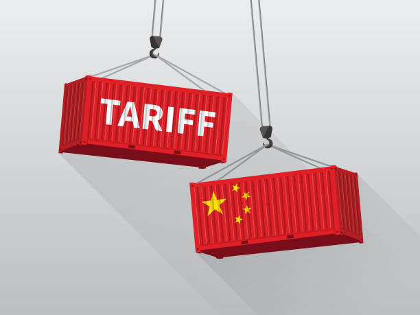 Port crane lift cargo containers with China tariff trade war concept. Port crane lift cargo containers with China tariff trade war concept. tariff stock illustrations