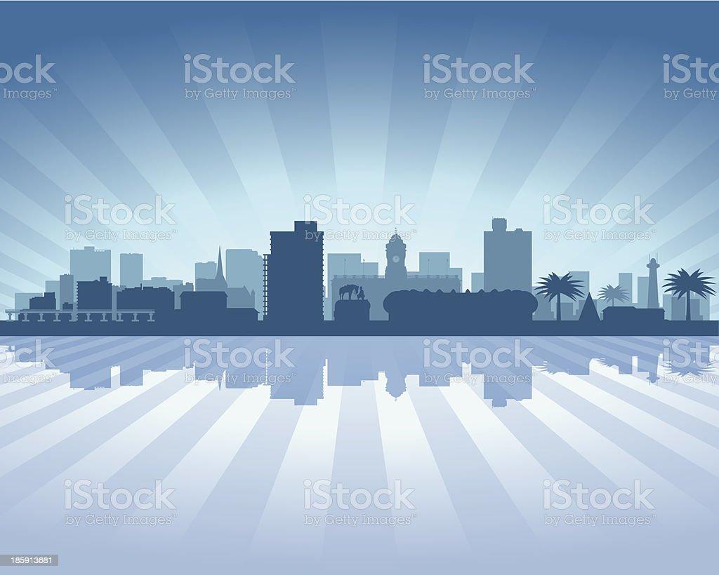 Port Elizabeth South Africa Blue City skyline silhouette royalty-free stock vector art