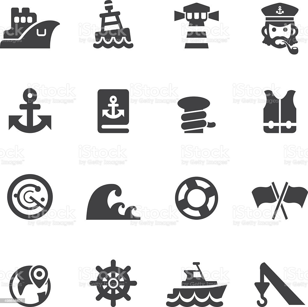 Port icons Silhouette icons | EPS10 vector art illustration
