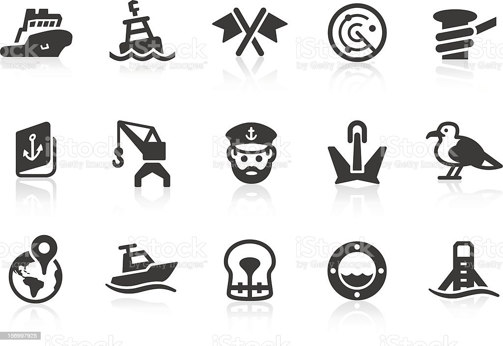 Port icons vector art illustration
