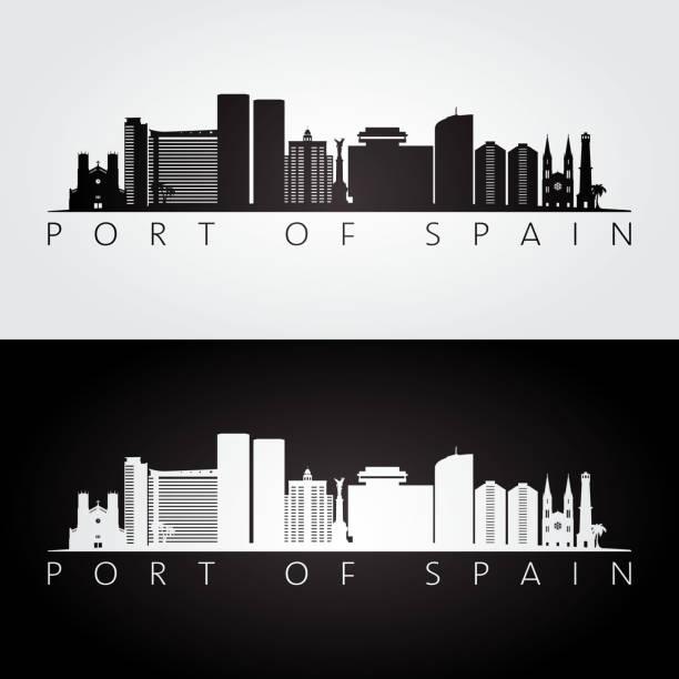 port of spain skyline und wahrzeichen silhouette, schwarz / weiß design, vektor-illustration. - alicante stock-grafiken, -clipart, -cartoons und -symbole