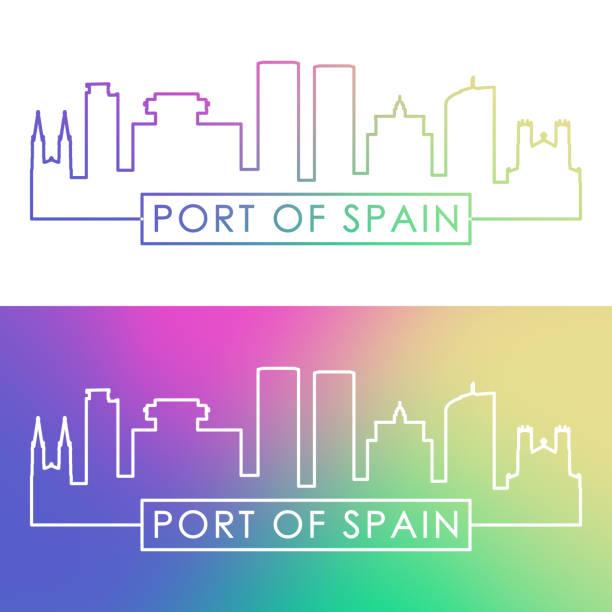 hafen von spanien skyline. bunte lineare art. bearbeitbare vektordatei. - alicante stock-grafiken, -clipart, -cartoons und -symbole