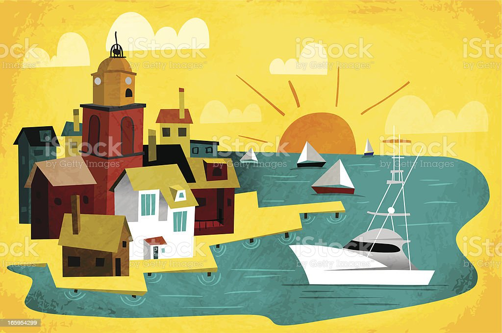 Port Town vector art illustration