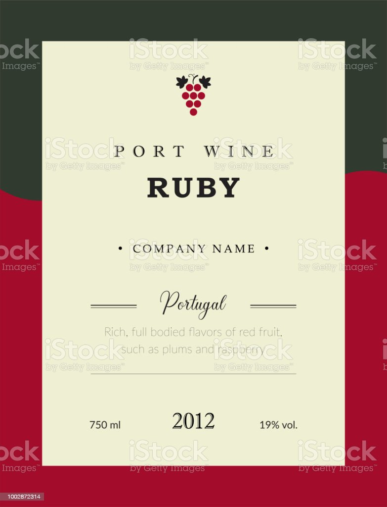 Port Wine Label Vector Premium Template Set Clean And Modern Design ...
