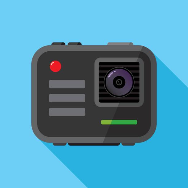 stockillustraties, clipart, cartoons en iconen met draagbare camera icon flat - gopro