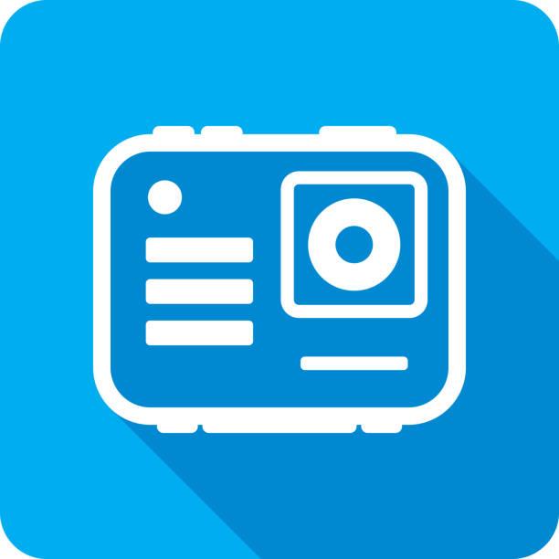 stockillustraties, clipart, cartoons en iconen met draagbare camera icon silhouet - gopro