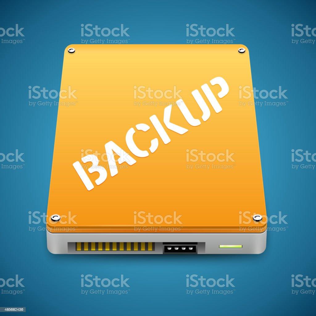 Portable Data Backup Hard Disc Drive Icon vector art illustration