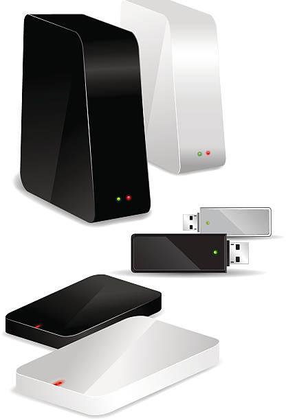 Portable / Desk Hard Disks and USB drive Different storage media - Vector Illustration external hard disk drive stock illustrations