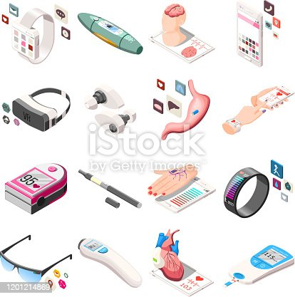 Portable electronics in medicine and life including vr headset, vape, fitness bracelet isometric icons isolated vector illustration