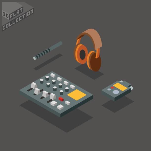 portable field recording. handheld audio recorder digital portastudio, kopfhörer, mikrofon. - kondensation stock-grafiken, -clipart, -cartoons und -symbole