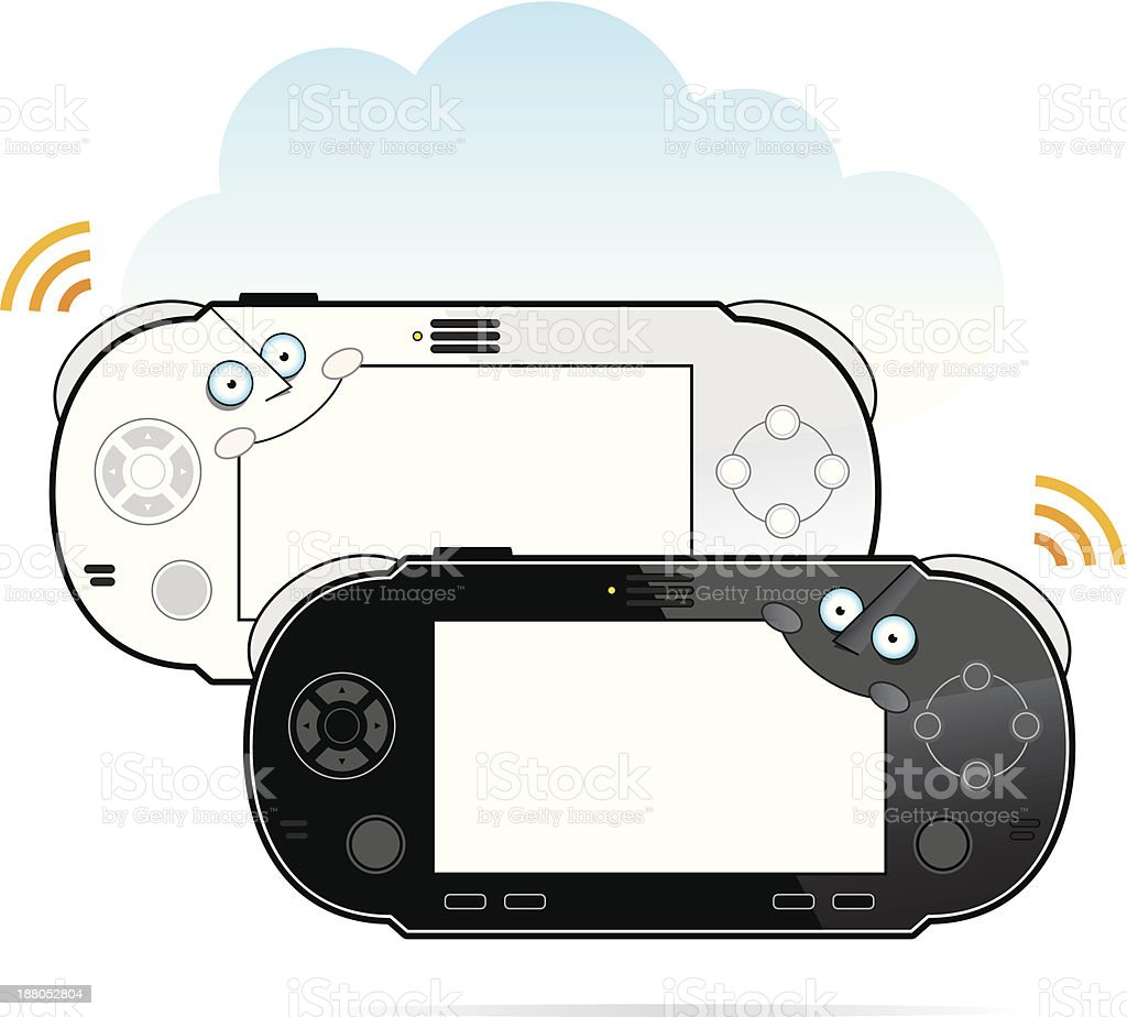portable game console characters royalty-free stock vector art