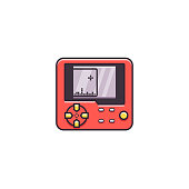 Retro Video Game Console Flat Color Line Icon On Isolated