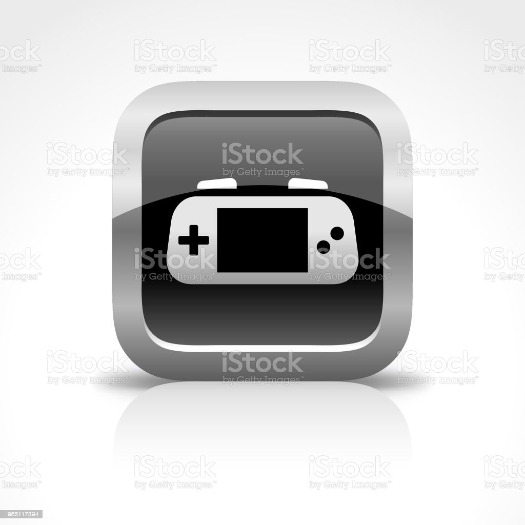 Portable Game Player Glossy Button Icon royalty-free portable game player glossy button icon stock vector art & more images of arts culture and entertainment