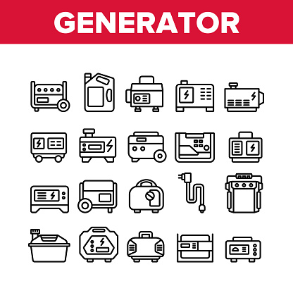 Portable Generator Collection Icons Set Vector. Generator Equipment For Generating Electricity, Fuel Bottle Package And Electrical Cord Concept Linear Pictograms. Monochrome Contour Illustrations