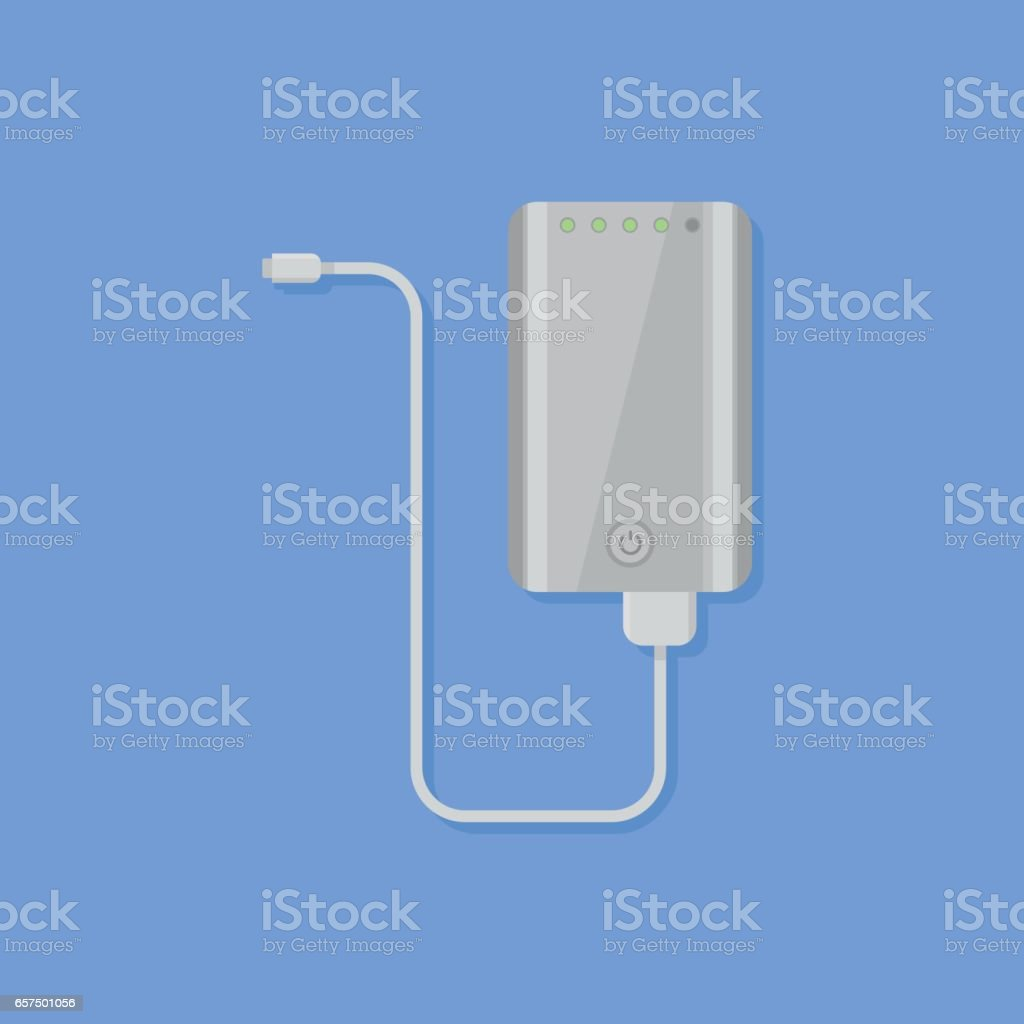 Portable power bank flat style icon. Vector illustration. vector art illustration