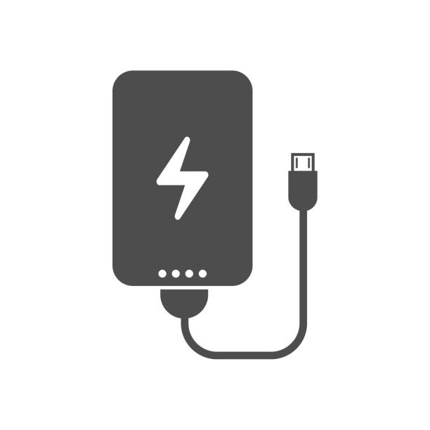 portable power bank power bank portable charging device for smartphones and mobile phones with electricity sign, charge indicator and usb cable. vector icon isolated on white background. web icon for mobile and ui design cell phone charger stock illustrations