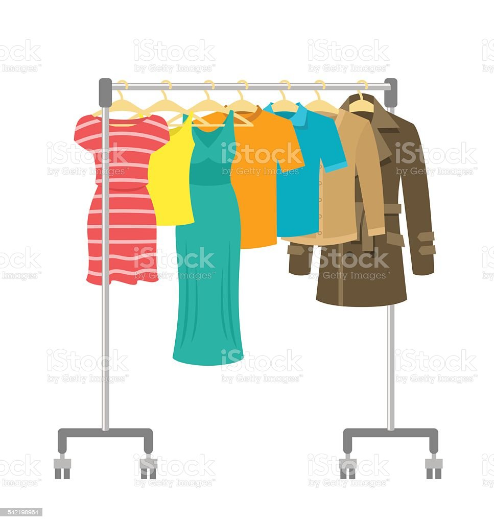 Portable rolling hanger rack with male and female clothes vector art illustration