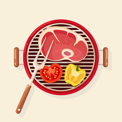Portable round barbecue with grill sausage, beef steak, fried meat vegetables isolated on background. BBQ device for picnic, family party. Barbeque icon. Cookout event concept Vector flat illustration