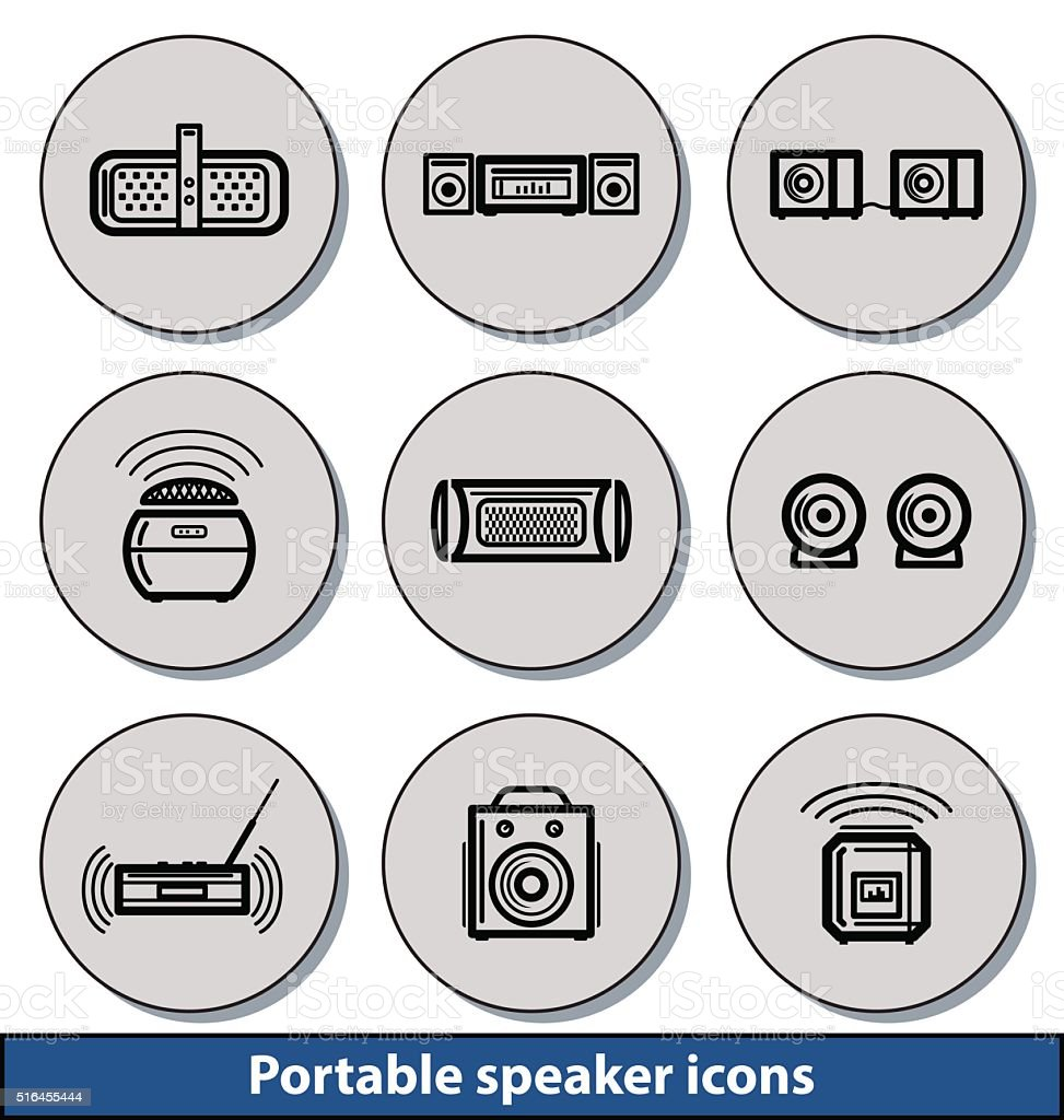 Portable Speaker Light Icons Stock Vector Art & More Images of Arts ...
