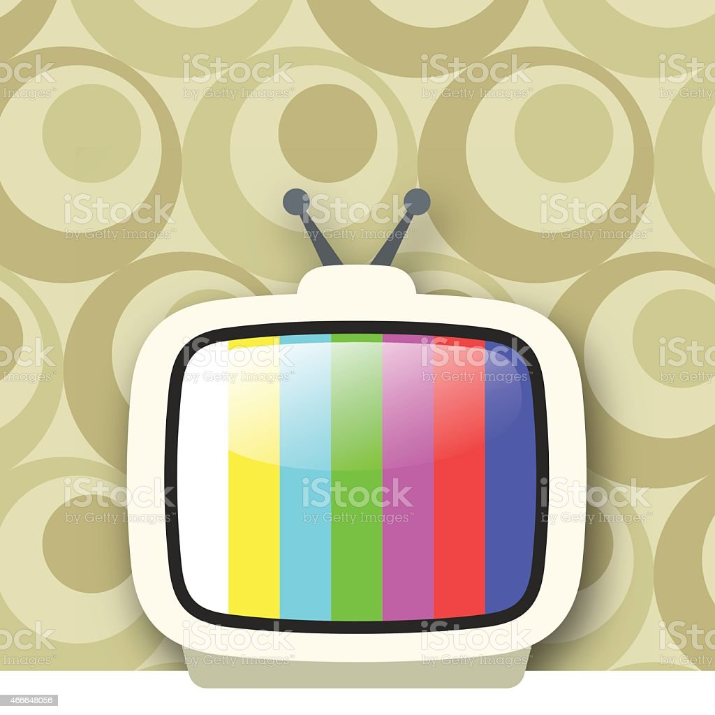 Portable Television With Test Pattern vector art illustration