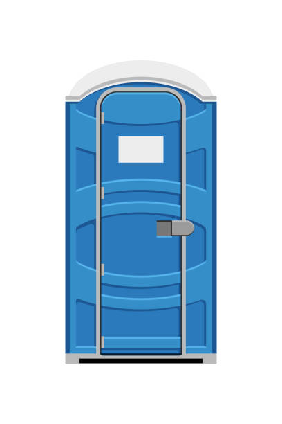 Portable toilet cubicle Blue portable toilet cubicle isolated on white background. Vector illustration portable toilet stock illustrations