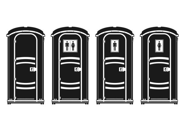 Portable toilet. Portable toilet. Silhouettes of four plastic molded outdoor cubicle. Side view. Flat vector. portable toilet stock illustrations