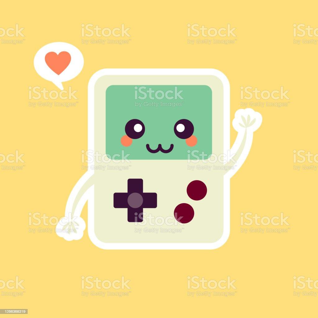 Taşınabilir Video Oyunu Sevimli Oyun Konsolu Vektör İllüstrasyon Oyun  Maskotu Logosu Karakter Eski Oyun Retro Web Açılış Sayfası Banner Sticker  Kart Arka Plan Için Uygun Düz Karikatür Stili Stok Vektör Sanatı &