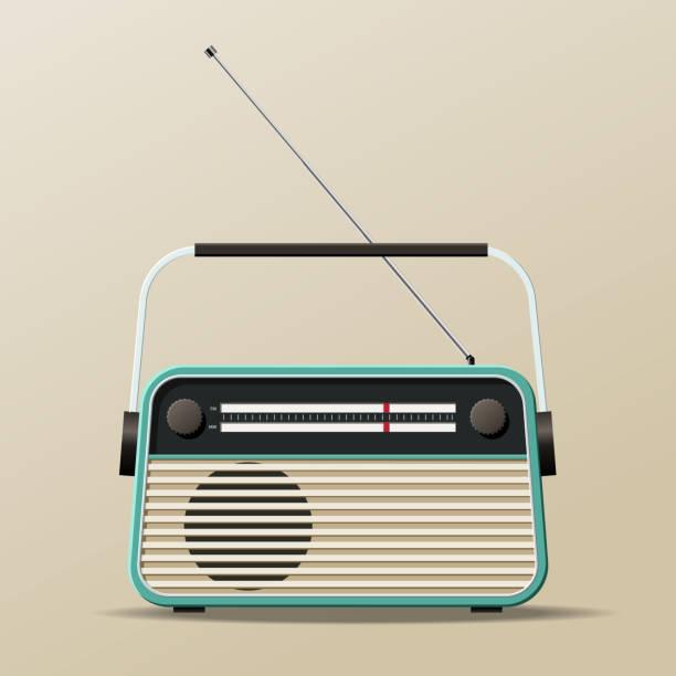 illustrations, cliparts, dessins animés et icônes de récepteur portable radio vintage - radio