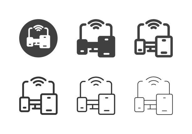 Portable Wireless Device Icons - Multi Series vector art illustration