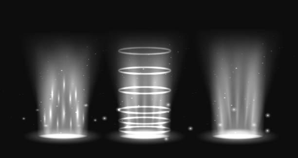 portal set light effect hologram. magic circle teleport podium. ufo swirl beam and ray energy funnel - oś czasu pomoc wizualna stock illustrations