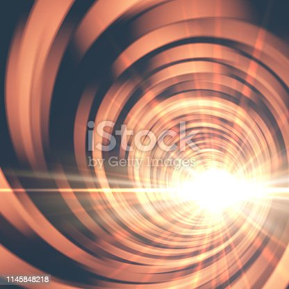Vector portal tunnel background with bright light.