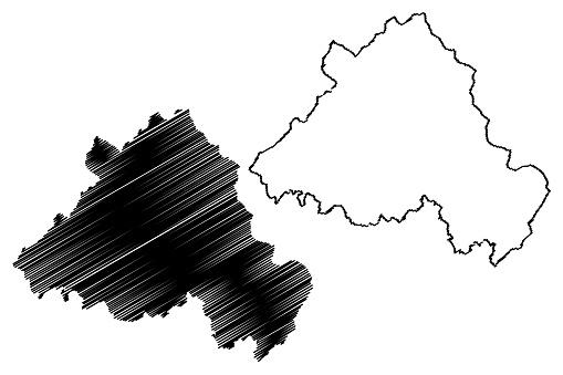 Portalegre District Map Vector Illustration Scribble Sketch Portalegre Map - Arte vetorial de stock e mais imagens de Abstrato