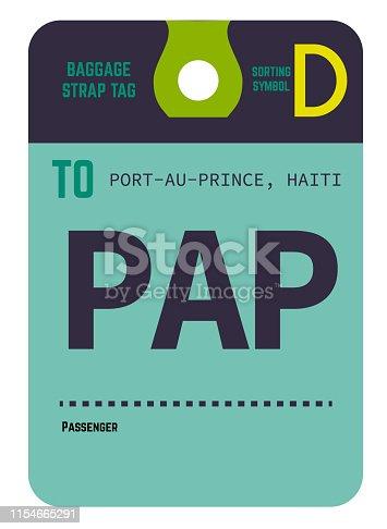 istock Port-au-Prince haiti airport luggage tag 1154665291
