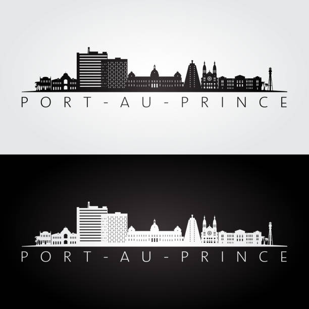 Port-au-Prince skyline and landmarks silhouette, black and white design, vector illustration. Port-au-Prince skyline and landmarks silhouette, black and white design, vector illustration. haiti stock illustrations