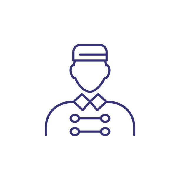 ilustrações, clipart, desenhos animados e ícones de ícone de linha de porter - recepcionista