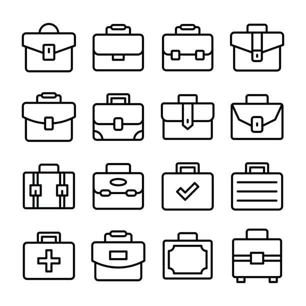 portfolio tasche linie vector icons set - laptoptaschen stock-grafiken, -clipart, -cartoons und -symbole
