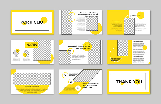 Portfolio minimal slides presentation template.Landscape Vector Business Powerpoint / Keynote Presentation Guide Template Brochure. Gray and yellow colors.