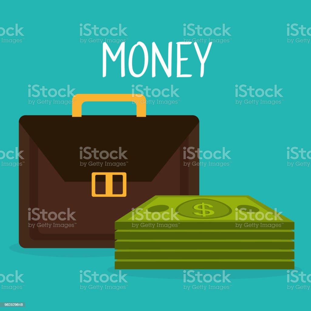 carteira com dinheiro de dólares de contas - Vetor de Antiguidades royalty-free