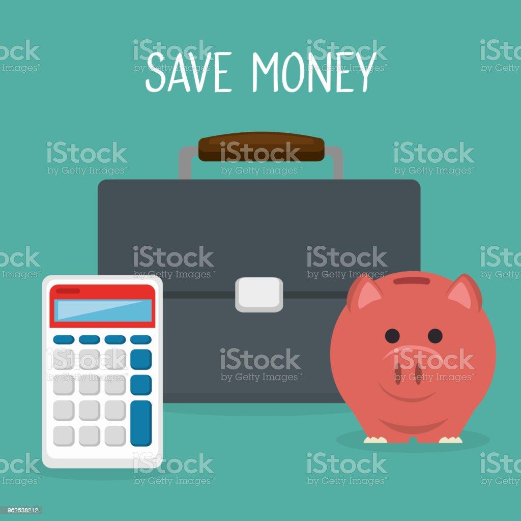 carteira com calculadora e porquinho de dinheiro - Vetor de Antiguidades royalty-free