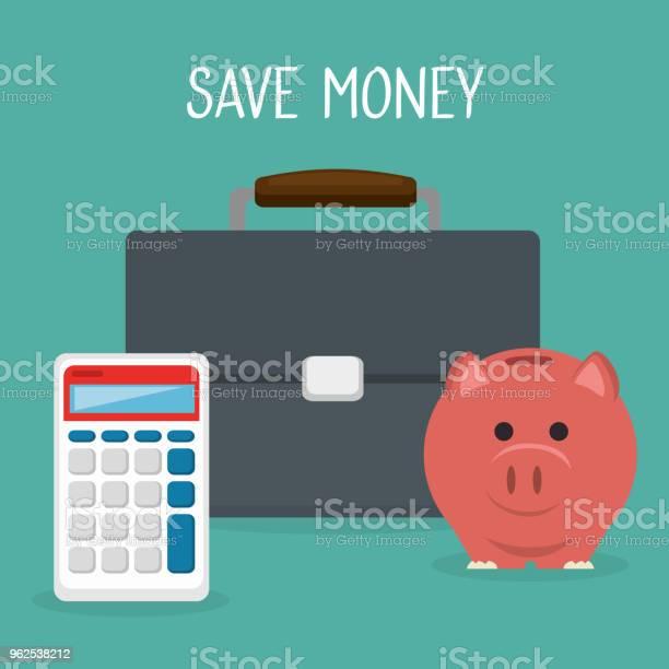 Vetores de Carteira Com Calculadora E Porquinho De Dinheiro e mais imagens de Antiguidades