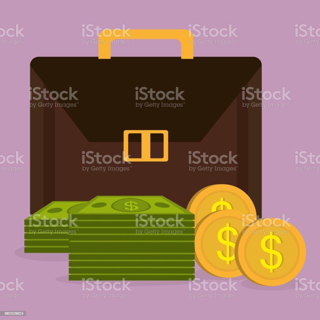 carteira com moedas e notas de dólares de dinheiro - Vetor de Antiguidades royalty-free